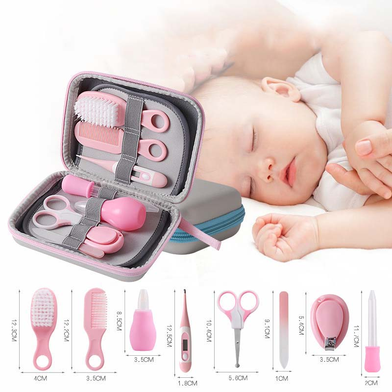 8 Pcs Baby Nail Care Kit Kids Grooming Health Care Manicure Set Children Scissor Nail Clipper Thermometer Comb Brush Accessories