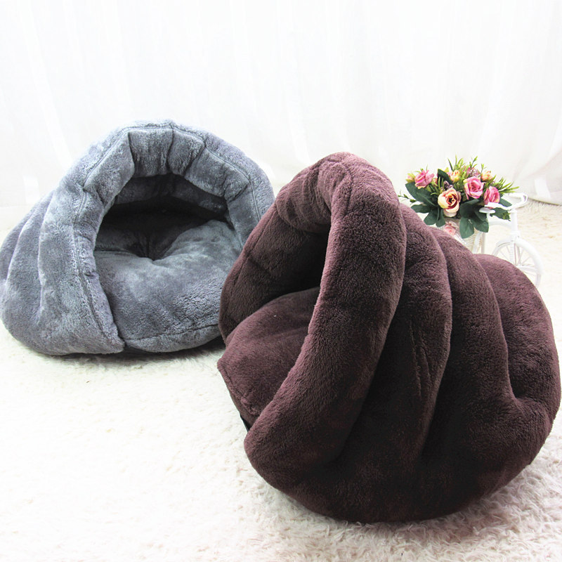 New Pet Soft Brown Dog Cat Bed House Winter Warming Nest Mat For Small Dogs Sleeping Bag ...