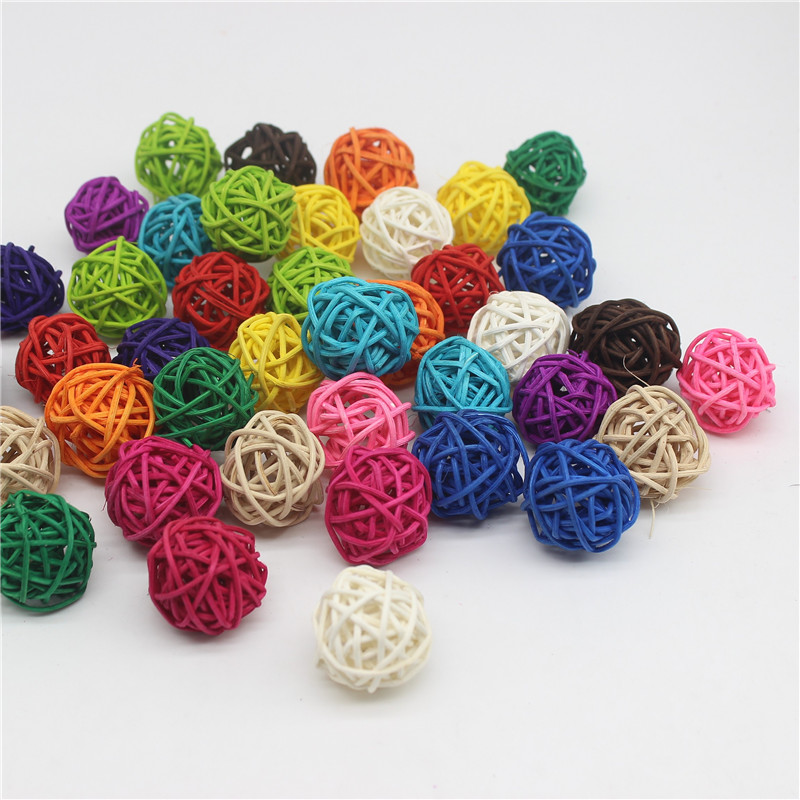 15PCS/Lot 3CM Multicolor Rattan Ball DIY Balls Home Ornaments&Christmas Birthday Wedding Party Decorations Kids Toys