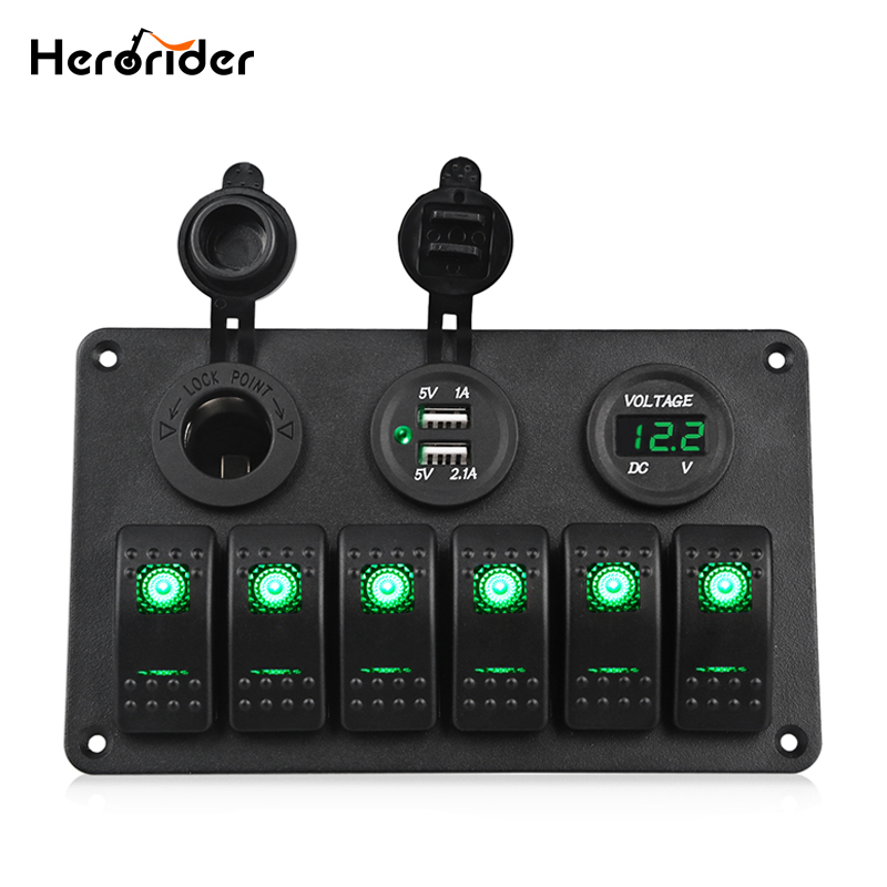 Herorider Switch Panel 5V Dual Usb Car Charger Voltmeter 6 Gang Auto Boat Marine Cigarette Lighter Blue Led Rocker Switch Panel 8 gang rocker switch panel voltmeter 12v 24v dual usb charger cigarette lighter socket boat car rocker waterproof hot