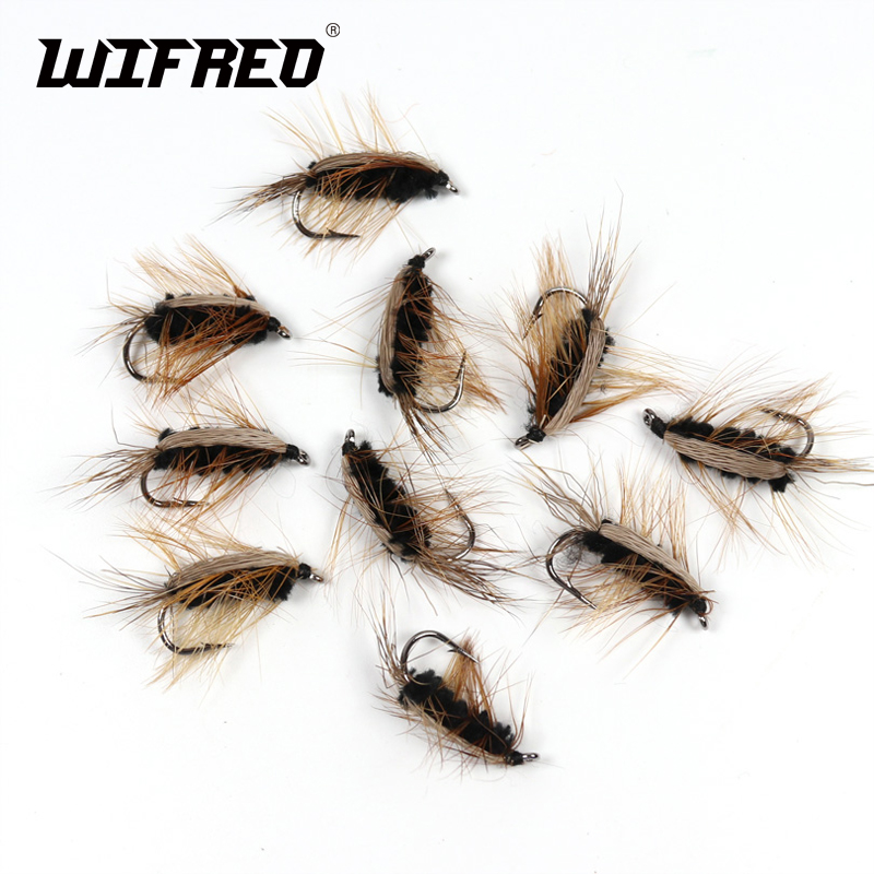 Wifreo 10PCS #6 Black Body Woolly Worm Brown Caddis Nymph Fly Deer Hair Beetle Trout Fly Fishing Fly Bait