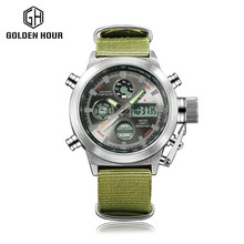fashion Top Brand Luxury Mens Quartz Digital Sports Watches Nylon LED Military Army Waterproof Stopwatch Wristwatch Reloj Hombre