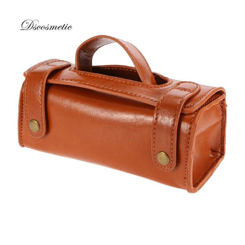 Dscosmetic New  Fashion Leather Travel Storage Bag For Man Shaving Brush Safety Razor Kit Shave Tools Waterproof Storage Case