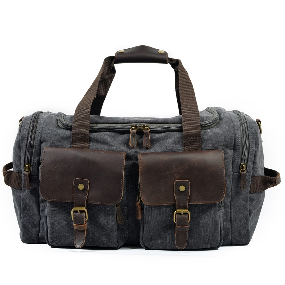 LIHONGBAOBAO Vintage Canvas Duffel Bag Carry On Weekend Bag Men Travel Bags Military Shoulder Handbag Leather Large Travel Tote augur men s messenger bag multifunction canvas leather crossbody bag men military army vintage large shoulder bag travel bags