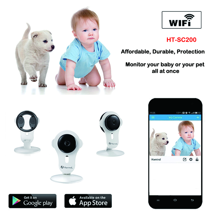 Free shipping Homtrol Baby Cam 1MP 720P two-way audio H.264 Indoor Infrared Cube IP Camera Support TF card and Cloud technology