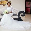 Berydress de novia vestidos de novia vestido de novia con mangas scoop neck lace up sirena vestido de novia de encaje 2017 la capilla de tren casamento