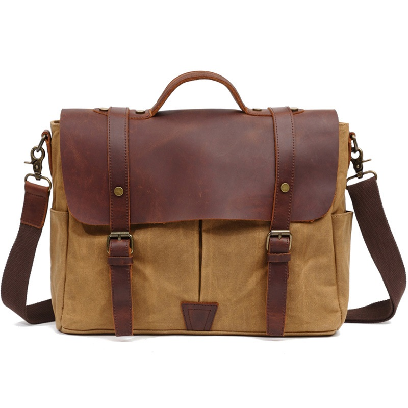 fashion  canvas Laptop Bag  15.6 computer bag oil wax canvas leather shoulder bag handbag free shippingfashion  canvas Laptop Bag  15.6 computer bag oil wax canvas leather shoulder bag handbag free shipping