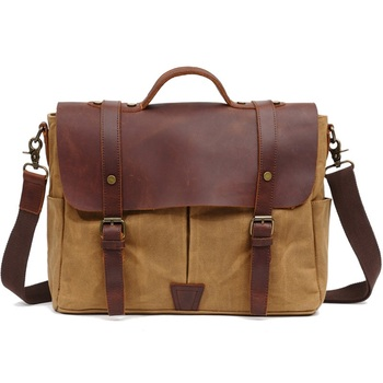 "fashion  canvas Laptop Bag  15.6"" computer bag oil wax canvas leather shoulder bag handbag free shipping"