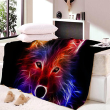 Drop Ship Wolf Print Velvet Plush Throw Blanket Galaxy Printed Sherpa for Couch Landscape Bedding