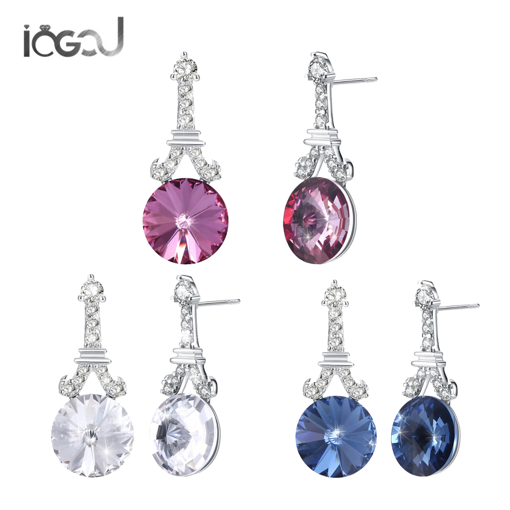 IOGOU White /Pink /Blue Crystal From Swarovski 925 Sterling Silver Ladies Engagement Bridal Wedding Wholesales Hoop Earrings