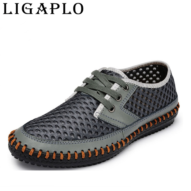 Hollow out Breathable cowhide summer Genuine Leather fashion shoes men male Casual shoe