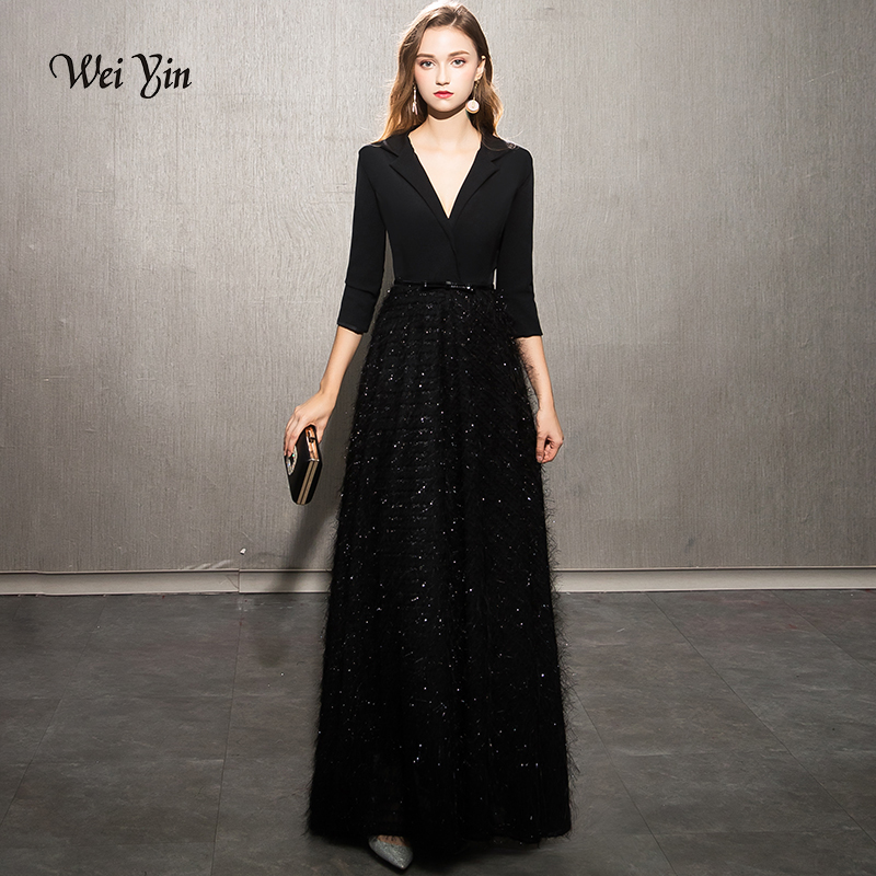 Weiyin 2019 Black Evening Dresses Elegant Lace Evening Gowns Long Formal Evening Dress Styles Women Prom Party Dresses WY1248