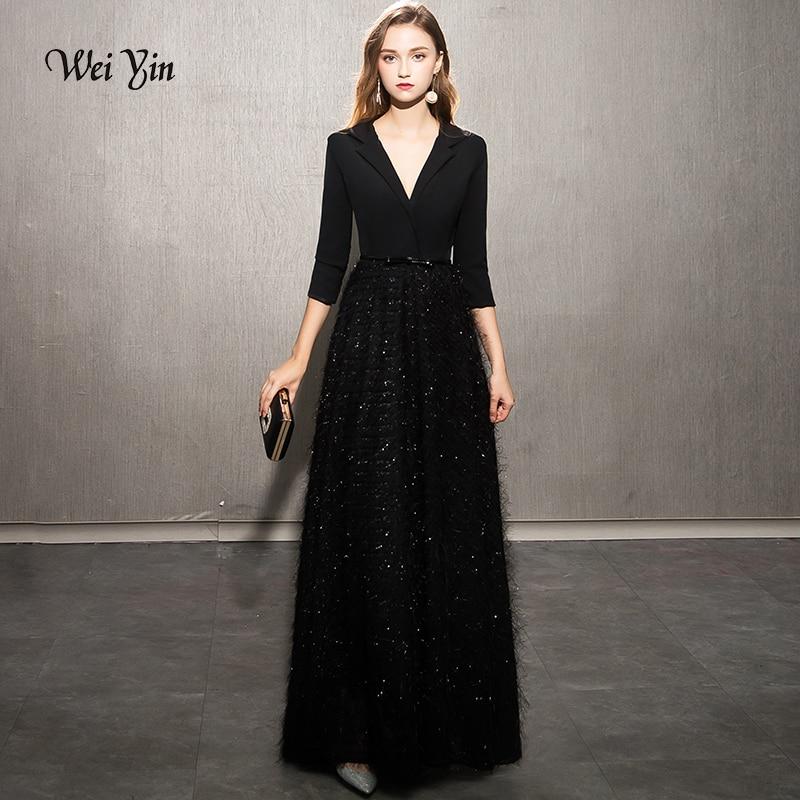 Weiyin 2019 robes de soirée noires élégantes robes de soirée en dentelle longue robe de soirée formelle Styles femmes robes de bal WY1248