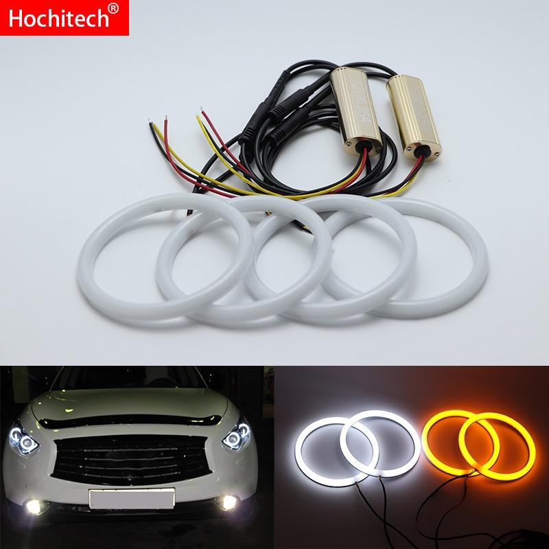 Pour Infiniti FX QX70 FX35 FX37 FX50 2009-2013 blanc et ambre double couleur coton LED ange yeux kit halo anneau DRL clignotant