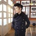Men Short Design Wool 2017 Male New Fashion Streetwear Fur Collar Woolen Double Breasted Button Outerwear Coat
