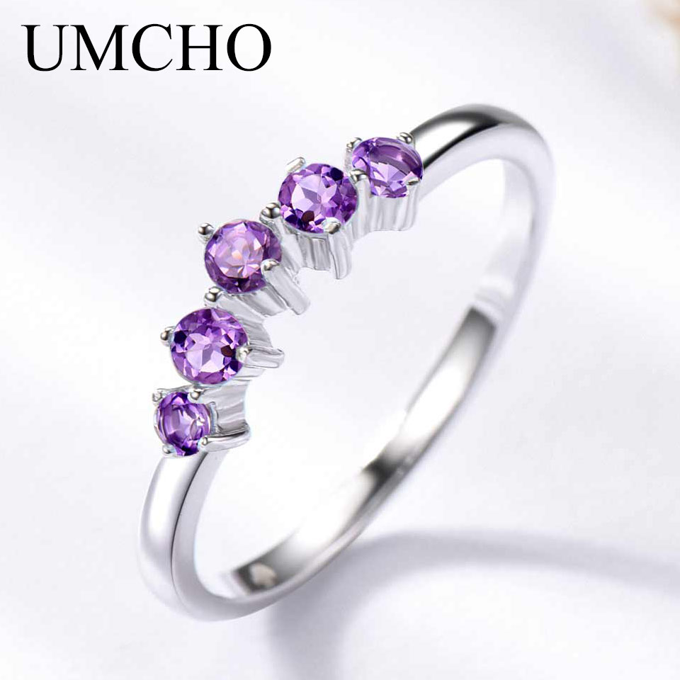 UMCHO Natural African  Amethyst Rings For Women Solid 925 Sterling Silver Stacking Ring Engagement Wedding Gemstone Jewelry