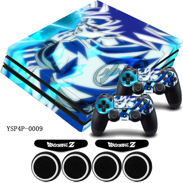 Dragon Ball Z GOKU Vinyl Sticker PS4 Pro Protective Skin Decal +4 xThumb Stick Grip Caps For Playstation 4 Pro Console