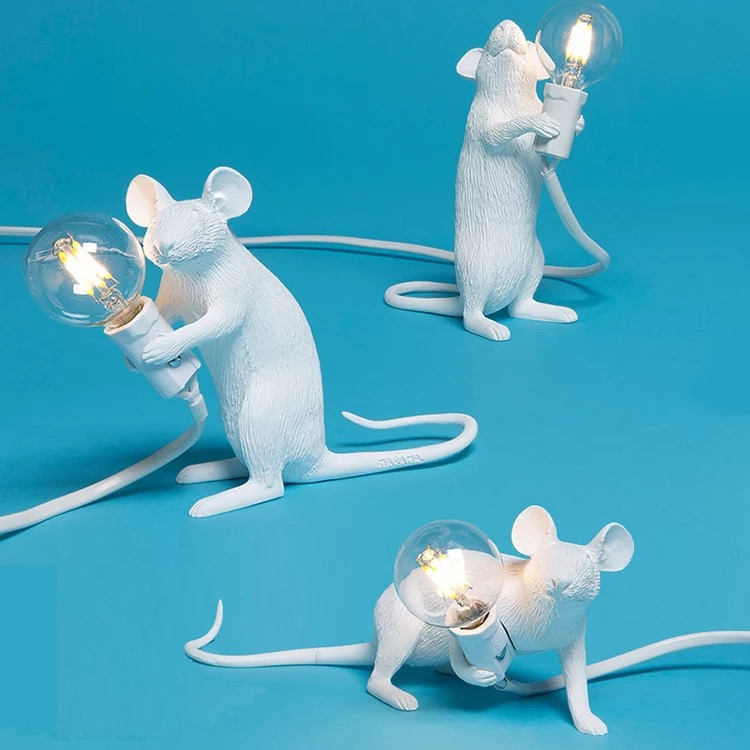Mouse desk lamp resin peculiar white nordic creative living room study decorative light children's room bedroom mouse table lamp