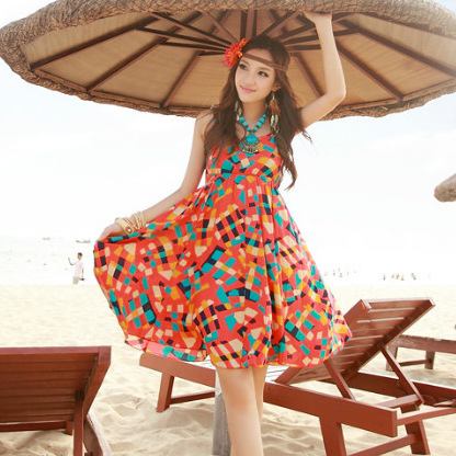 Free Shipping Clothes Women Hot 2017 Summer New Plaid Bohemian Print Beach Dress Honeymoon Short Travel In Dresses From S Clothing