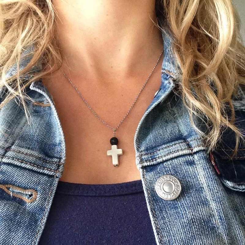 Boho lawa koralik kamień dyfuzor naszyjnik krzyż Choker naszyjniki oleju dyfuzor lawy Choker biżuteria aromaterapia