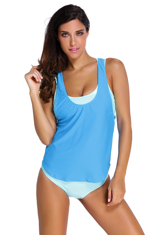 Stylish Aqua Sports Bra Tankini Swimsuit with Blue Vest Women Strap Padded ThreePiece Swimwear With Briefs BathingSuit Beachwear