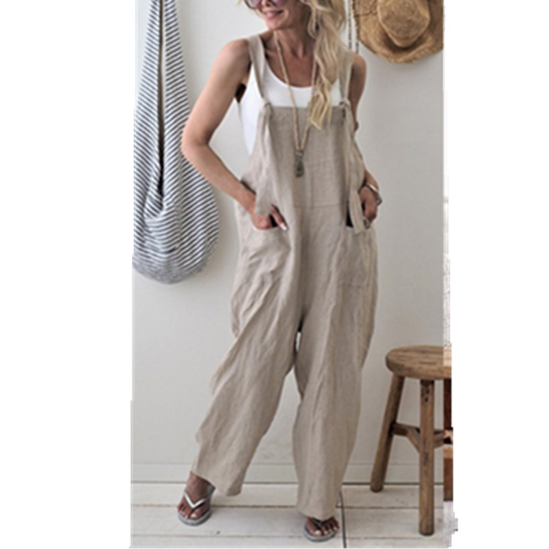 2019 New Brand Women Casual Loose Cotton Linen Solid Pockets Jumpsuit Overalls Wide Leg Cropped Pants Romper