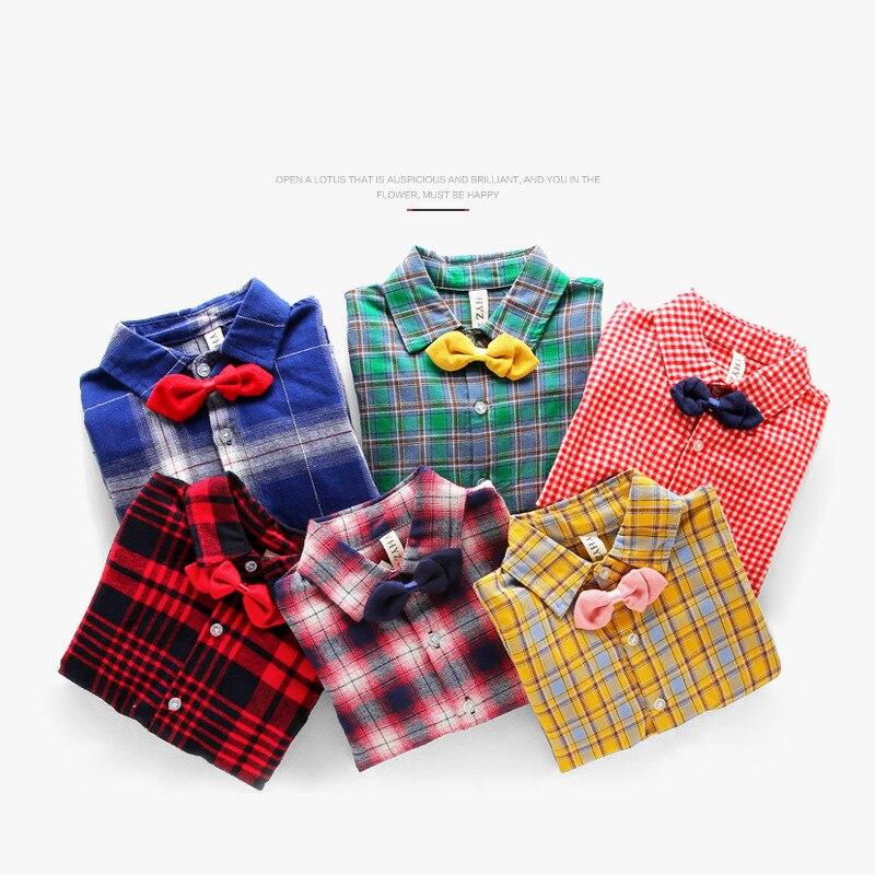 классический плед детские рубашки осень обувь для мальчиков рубашка блузка для девочек модная детская одежда из хлопка с бантом рубашка с галстуком для обувь для мальчиков детей костюмы