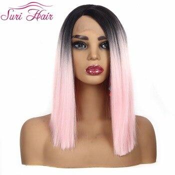 Suri haar 12 Zoll cospaly Synthetische Spitze Front Perücke Gerade Spitze Perücken Für frauen Kurze Bob perücke rosa farbe seite teil Ombre haar