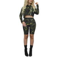 2 Piece Set Women Camouflage Sweatshirt Short Pants 2018 New Style Fall Casual Camouflage Clothes Slim
