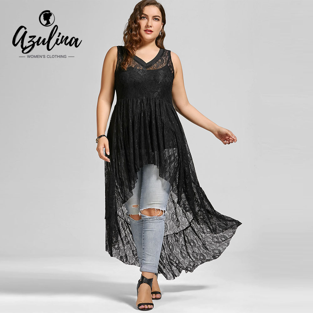 AZULINA Plus Size Lace See Through Blouse Summer Black V-Neck Sleeveless Women Blouses Big Size Clothing 5XL Blusas Mujer