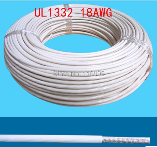 Free shipping 5meters 18 awg WHITE / UL1332 AWM/teflon wire/high ...