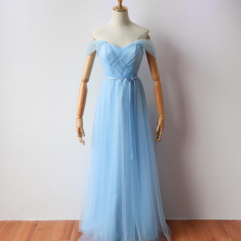 Sky Blue Colour Floor-Length Long Party Dress  Elegant Dress Women For Wedding Party Bridesmaid Dress Back Of Bandage