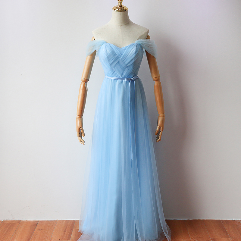 Sky Blue Floor-Length Long Party Dress  Elegant Dress Women For Wedding Party  Bridesmaid Dress