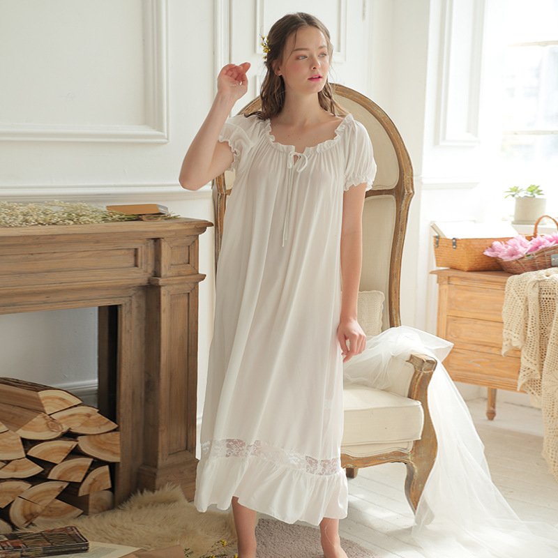 Lisacmvpnel Retro Palace Style Cotton Women Nightgown Slash Neck Lace Sexy Female Nightdress Loose Women Sleepwear