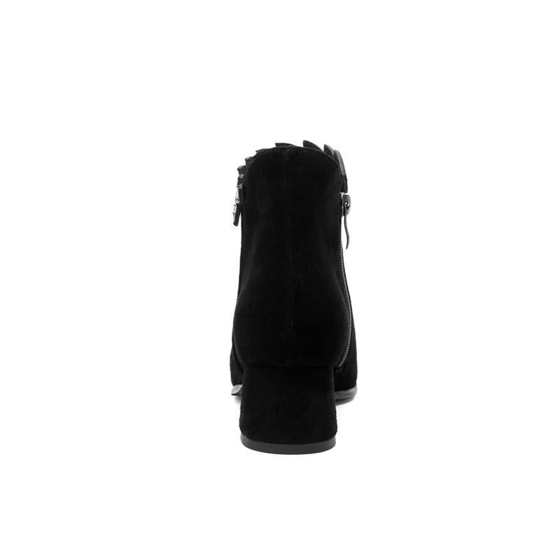Cr1291 Talons Femmes Mode Zip Bottines 43 Enmayer De Black Grande 32 Strass Bottes Troupeau Bout Rond Hauts Taille Causalité Épais Chaussures dBtQCxshro
