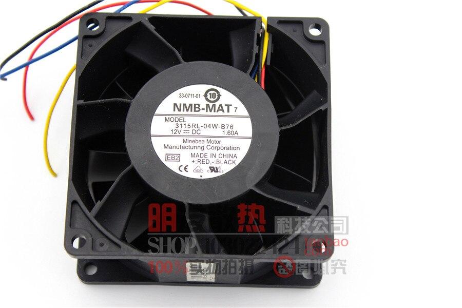 3115RL-04W-B76 Minebea NMB 8038 80mm 8 cm DC 12 v 1.6A 8 CM vents de PWM contrôle la vitesse du ventilateur 80x80x38mm