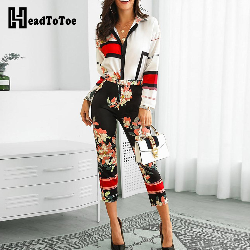 2019 Women Floral Print Turn-Down Neck Long Sleeve   Jumpsuit   Office Ladies Casual Workwear One Piece Overalls