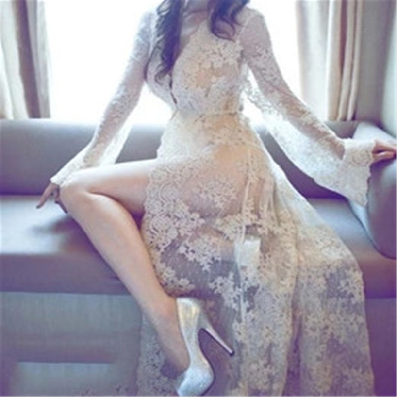New Spring grenadine perspective <font><b>Dress</b></font> hollowed-out flowers lace <font><b>Dresses</b></font> <font><b>transparent</b></font> <font><b>sexy</b></font> goddess queen girls evening Party image
