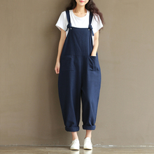 Frauen 2018 Sommer Herbst Plus Size Casual Overalls Vintage Sleeveless Backless beiläufige lose feste Overalls trägerlosen Paysuits
