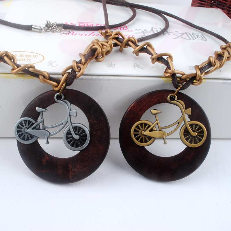 Antique Vintage Long Rope Chain Necklace font b Wooden b font Alloy Bike font b Pendants