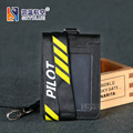 "Pilot / Co-Pilot ""s Lanyard with Card & ID Holder Double Layer Genuine Leather Case Black  for Aviator Airmen Flight Crew"