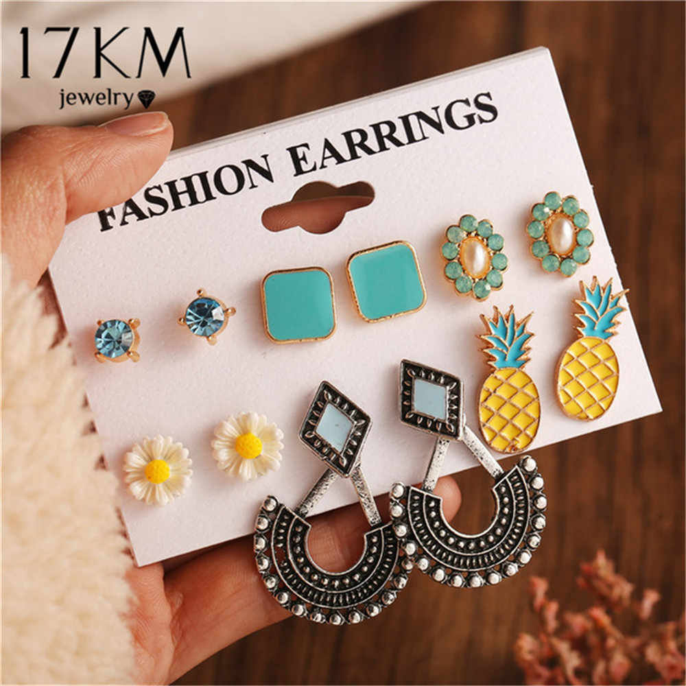 2019 Bohemian Pineapple Flower Stud Earrings Set For Women Vintage Stone Leaf Earrings Female Fashion Brincos Jewelry Wholesale