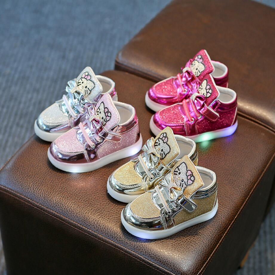 Heißer Mädchen Schuhe Baby Mode Haken Schleife Führte Schuhe Kinder