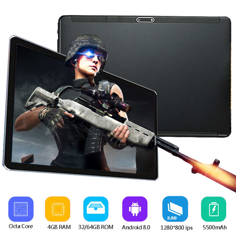 2019 Unlocked 2.5D Glass 10 inch Android 8.0 tablet PC Octa Core 4G RAM 64G ROM 4G LTE Dual Sim Cards Wifi/GPS tablets PAD