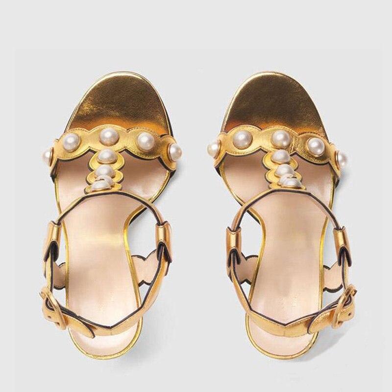 con Open Fashion alto con Toe Ladies Kiss vera Party di in fibbia Wet Scarpe Sandali Summer Black tacco Hoof pelle New Donna Gold perla qwRIRAEzKx