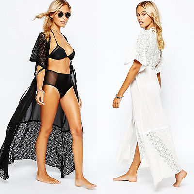 2017 Stylish Women LACE Crochet Swimsuit Bathing Cover Up Dress Kimono Cardigan woman bikini set cover ups accessories 3