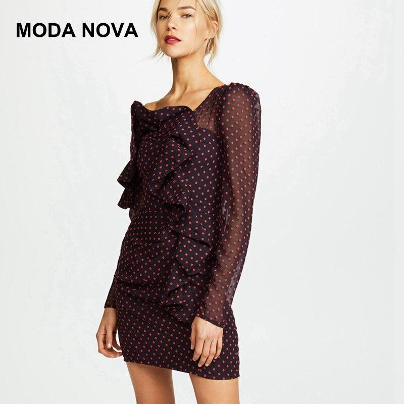 MODA NOUVELLE Auto Portrait Designer Piste Robe Femmes Vintage Sexy Encolure Ploka Dot Ruches Manches Longues Mini Robes 2018