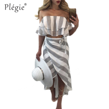 Plegie Summer Skirt Women 2 Piece Set Stripe Print Sexy Ruffles Strapless Crop Tops 2018T-shirt Irregular Long Skirt Casual Set