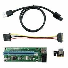 Weyes 0.6 м pci-e 1x к 16X Riser Card Extender PCI Express удлинитель + USB 3.0 кабель для передачи данных/ 15pin SATA к 4PIN Мощность шнур