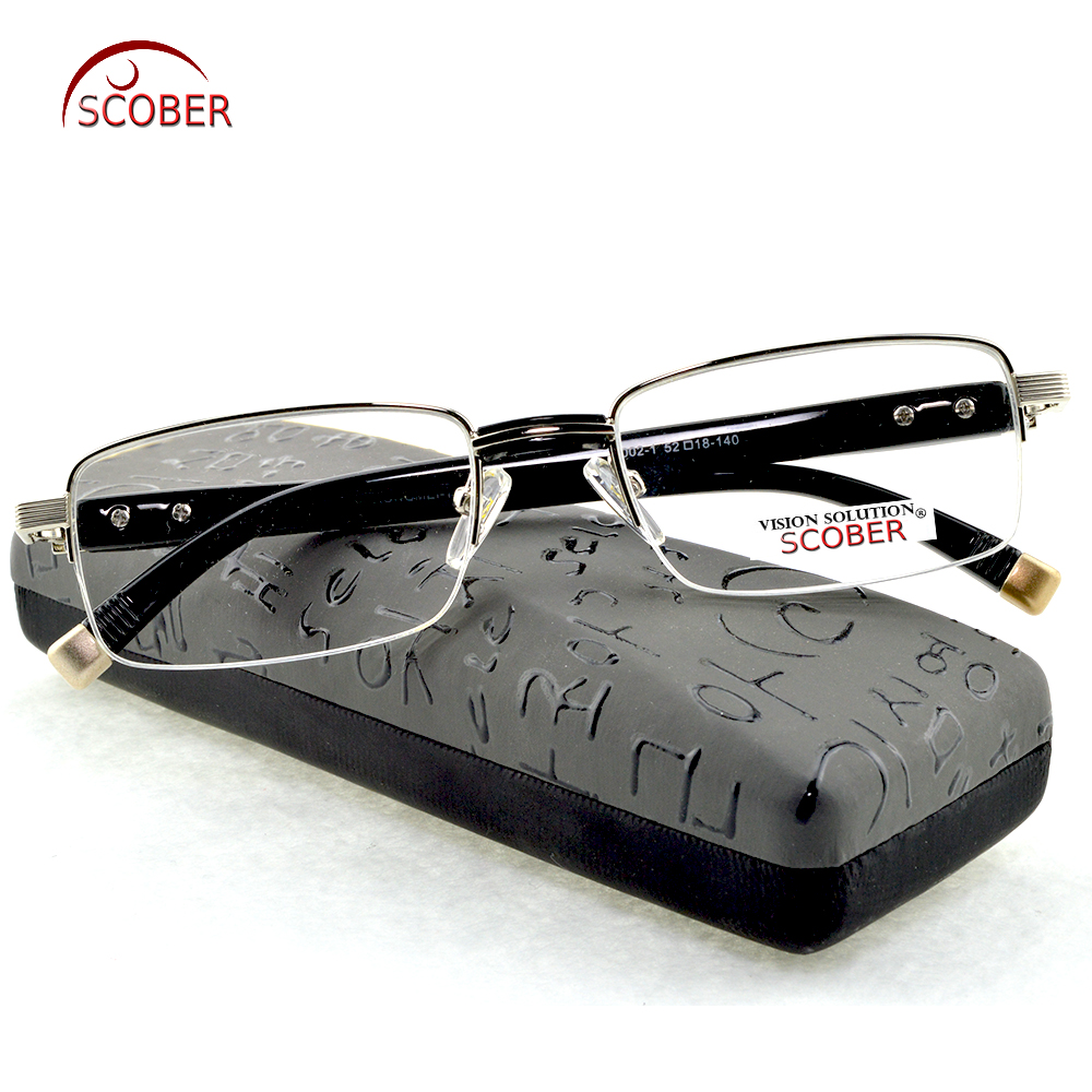 = SCOBER = MEN Titanium alloy +TR90 Senators Antireflective coated reader read Non spherical reading glasses +0.5 +0.75 +1 to +6